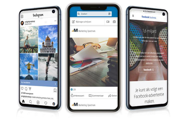 three phones showing google ads, facebook ads and instagram ads