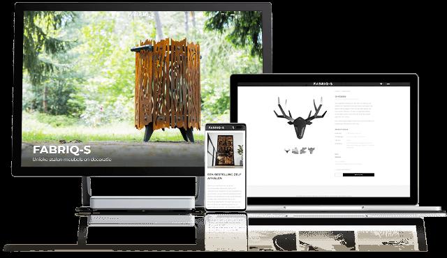Website Fabriq-s.nl in 3 responsive apparaten - Unieke stalen meubels, interieur en staal maatwerk